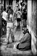 They're the antipodes of each other (marcobertarelli) Tags: antipodes world apart poor rich people youngh old pretty ugly venice calle monochrome monochromatic bw contrast composition street photography vintage