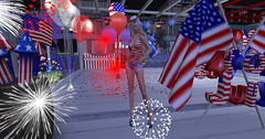 Let freedom ring! (Teddi Beres) Tags: second life sl usa independence day 4th july red white blue rockets fireworks balloons flag blonde girl patriot celebrate declaration freedom