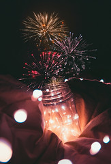 you and i were fireworks (lauren zaknoun) Tags: surreal surrealphotography conceptual conceptualphotography fireworks light fairylights stringlights glow pink red orange masonjar art vintage aesthetic