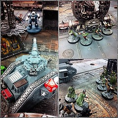 First game of 8th :D  Astra Militarum vs Mechanicus. I had one guardsman left, turn five, won on points :D #warhammer40k #warhammer #gamesworkshop #paintingwarhammer #guard #imperialguard #astramilitarum #mechanicus #tanith #gauntsghosts #lemanruss #russ (Karljohnmason) Tags: instagramapp square squareformat iphoneography uploaded:by=instagram warhammer warhammer40k 40k warhammer4000 gamesworkshop wargaming citadel guar imperial imperialguard astra militarum astramilitarum