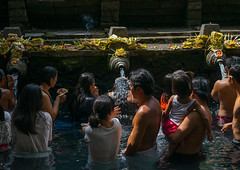 Worshipers taking a bath in the purifying pool at Tirta Empul temple, Bali island, Tampaksiring, Indonesia (Eric Lafforgue) Tags: adultsonly amritha asia attraction bali bali1849 balinese bathing day groupofpeople hindu hinduism holyspringwater horizontal indonesia indonesian offerings outdoors pond pool purification purifying religion religious religiousbuilding religiouspractice ritual ritualbath sacred tampaksiring tirta tirtaempul tourism warmadewadynasty water watertemple women worship worshipers baliisland