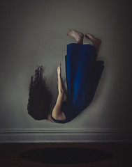Down the Rabbit Hole (kbetart) Tags: falling fall girl bluedress dark surreal surrealphotography darksurreal levitation levitationphotography rabbithole