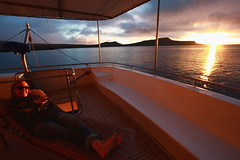 Rach on Seaman II - just off Post Office Bay - Floreana Island (Roubicek) Tags: sunset vacation holiday ecuador honeymoon galapagos floreana rach equador seaman galapagosislands floreanaisland seaman2 seamanii