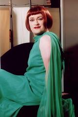 Green cocktail dress 6 (Lesley Davidson) Tags: red green me smile mirror scotland eyes dress head lips transgender transvestite redhair crossdresser