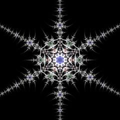 Pewter Snowflake (Ross Hilbert) Tags: snowflake art metal silver star chaos julia digitalart computerart fractal pewter mandelbrot generativeart juliaset mathart fractalart algorithmicart mandelbrotset orbittrap fractalsciencekit