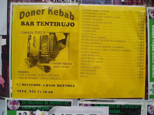 Doner Kebab Tentirujo Reinosa Cantabria