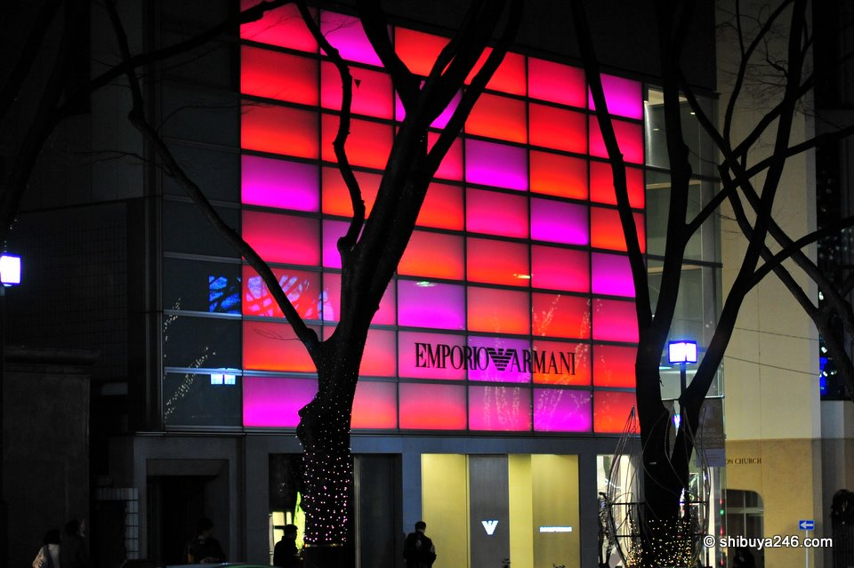 Emporio Armani with a nice pink, red glow at night.
