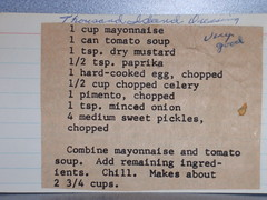Moms Thousand Island Dressing Recipe (rabidscottsman) Tags: food recipe eating eat onion celery paprika tomatosoup clipping mayonaise pimento sweetpickles thousandislanddressing recipecard momsrecipes drymustard hardcookedegg