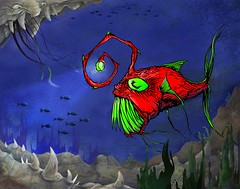 Anglerfish, DEEP SEA - Poster (tbSMITH) Tags: ocean fish art monster tattoo illustration print poster drawing painter creature carnivore penandink angler deepsea left4dead