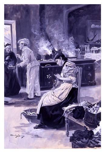 I.E.A. 22 DICIEMBRE 1896-2.º N.º - XLVII. Pág. 376. PREPARATIVOS PARA LA CENA- DIBUJO DE MÉNDEZ BRINGA