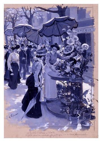 I.E.A. 15 JULIO 1903 - 2.º N.º XXVI. Pág. 29. BARCELONA.- LA RAMBLA DE LAS FLORES (SANTA MÓNICA)-DIBUJO DE E. SIMONET