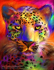 vibrant leopard art (www.SvetlanaNovikova.com) Tags: portrait eye digital colorful neon candy bright wildlife digitalart vivid safari digitalpainting leopard bigcat rainbowcolors wildlifepainting customart safariart svetlananovikova