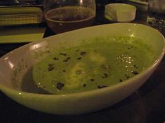 Cream of pasilla soup with crispy pork belly, red grapes & creme fraiche