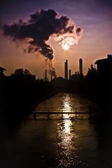 Save the planet (Funky64 (www.lucarossato.com)) Tags: sunset sun silhouette smog ticino earth piemonte sole terra reflexions controluce co2 fumo ciminiere inquinamento denuncia ozono savetheplanet inthemood turbi