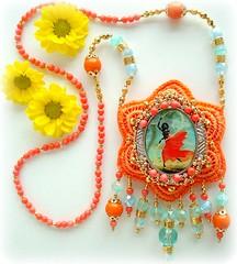 Coroa de Iansã (Lidia Luz) Tags: necklace beads handmade embroidery jewelry bijoux bijuteria textile fabric cristal colar bijouteria iansã oyá lidialuz