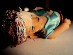 Lying (cameronorr) Tags: art monster doll barbie creepy burnt disgusting horrible repulsion cameronorrphotography