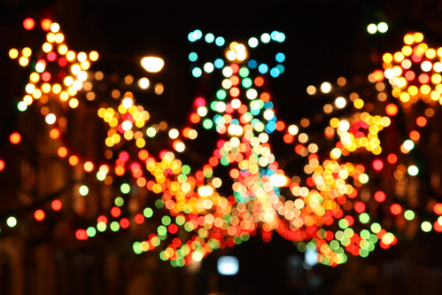 Street lightning christmas decorations Bokeh 3