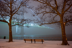 into december (krugerlive) Tags: newyorkcity snow misty brooklyn night december fort hamilton verrazanobridge verrazanonarrows