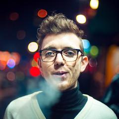 Ben (TGKW) Tags: street city boy portrait people man fashion night glasses ben bokeh glasgow smoke blowing nightlife spectacles 3008 brutaldof