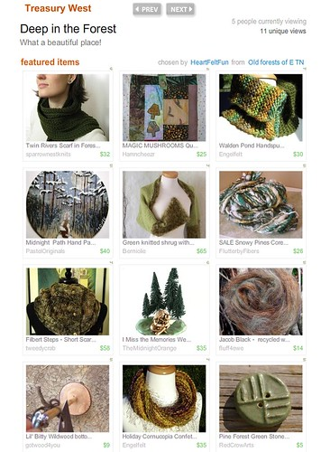 My Snowy Pines Handspun in an Etsy Treasury