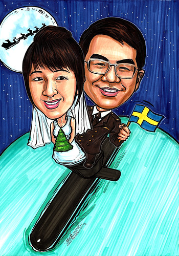 wedding couple caricatures on submarine A4