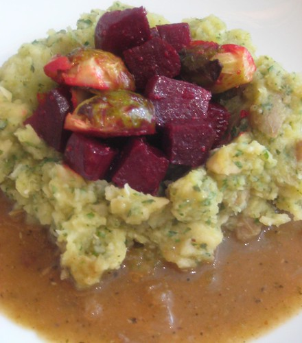 Thanksgiving - Celery Root and Cilantro Mashed Potatoes, Roasted Beets and Brussels Sprouts, Mushroom Gravy