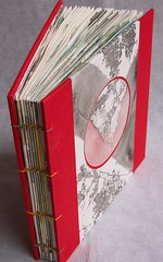 red coptic book with handpainted pages (booksbystephen) Tags: red art colorful handmade diary etsy bound bookbinding acrylicpaint sewn artistjournal dreamjournal paintedpaper stephenlott booksbystephen