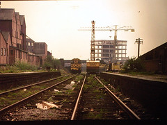 16 - Fishponds Station 1960s - Diesel loco and crane, last days of track (emmdee) Tags: bristol slide 1960s oldslides fishponds fishpondsstation