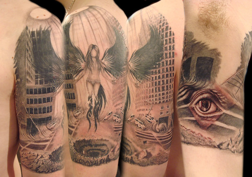 Dark Angel w/ MC Escher eye Tattoo by Miguel Angel tattoo