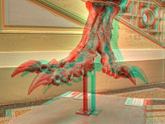 The Claw - Take care of your eyes! Ill scratch! (Batram) Tags: red 3 nature museum germany foot stereoscopic 3d dino d cyan anaglyph gotha claw stereoview scratch hdr naturkunde batram