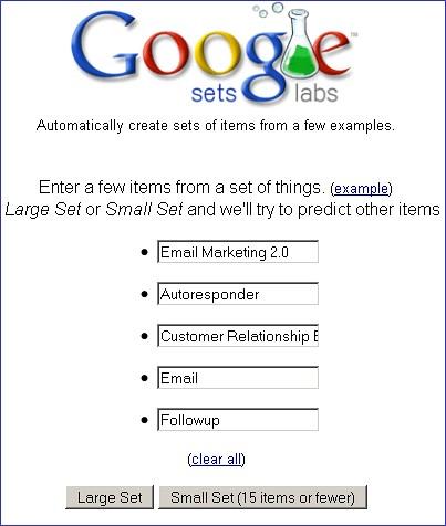 Email Marketing 2.0 brainstorm via Google Sets