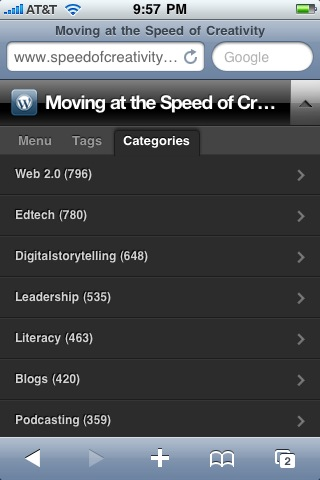 My blog categories running the WPtouch plug-in