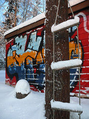 Abandoned House - Garage Wall (Toni Kaarttinen) Tags: street house snow streetart art abandoned wall espoo suomi finland graffiti finnland garage ladders finlandia finlande nöykkiö finstreetart