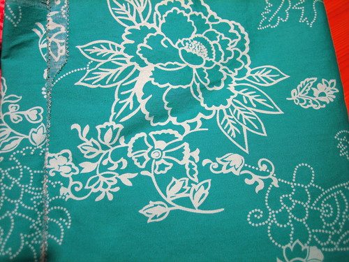 Green cotton with white flowers