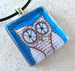 THE WISE OWL-By DeadpanAlley- Artist Collaboration (BeansThings) Tags: white bird glass vintage square bigeyes necklace folkart bright teal jewelry owl pendant bold whimsical electricblue frenchplay teamecoetsy teamefa homefrontteam beansthings deadpanalley