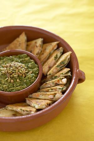 Crab Quesadillas with Tomatillo Salsa Recipe