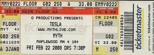 02/22/08 Tesla/Cinder Road @ Myth, Maplewood, MN (Ticket)