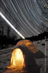 Igloo under the stars . . . II (Ken Scott) Tags: winter usa night star timelapse michigan igloo startrails leelanau startrail moontrail nearthe45thparallel