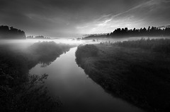Mist and Noctilucent Clouds (Latyrx) Tags: light shadow bw cloud white mist black reflection nature monochrome fog night clouds photoshop suomi finland river dark print landscape photography photo nikon long exposure mood graphic stock perspective sigma monochromatic mysterious finnish 1020mm sell 2009 mikko noctilucent resize latyrx d90 nikond90 nikond90bw mikkolagerstedt