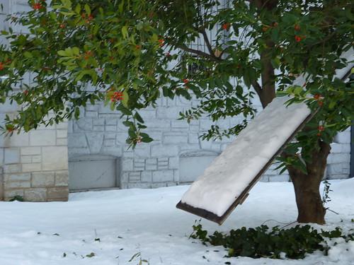 Wet, snowy slide