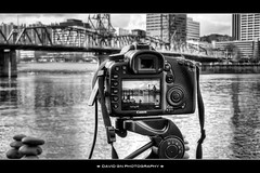 My Canon 7D Hard At Work - HDR (David Gn Photography) Tags: camera city skyline oregon portland landscape rocks downtown bridges esplanade hawthornebridge dslr willametteriver hdr eastbank canoneos7d canonpowershotsx1is sigma1020mmf35exdchsm