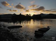 Derwentwater Sunset (Maria-H) Tags: park uk sunset england reflection silhouette lakedistrict panasonic national cumbria g1 derwentwater keswick 714 dmcg1