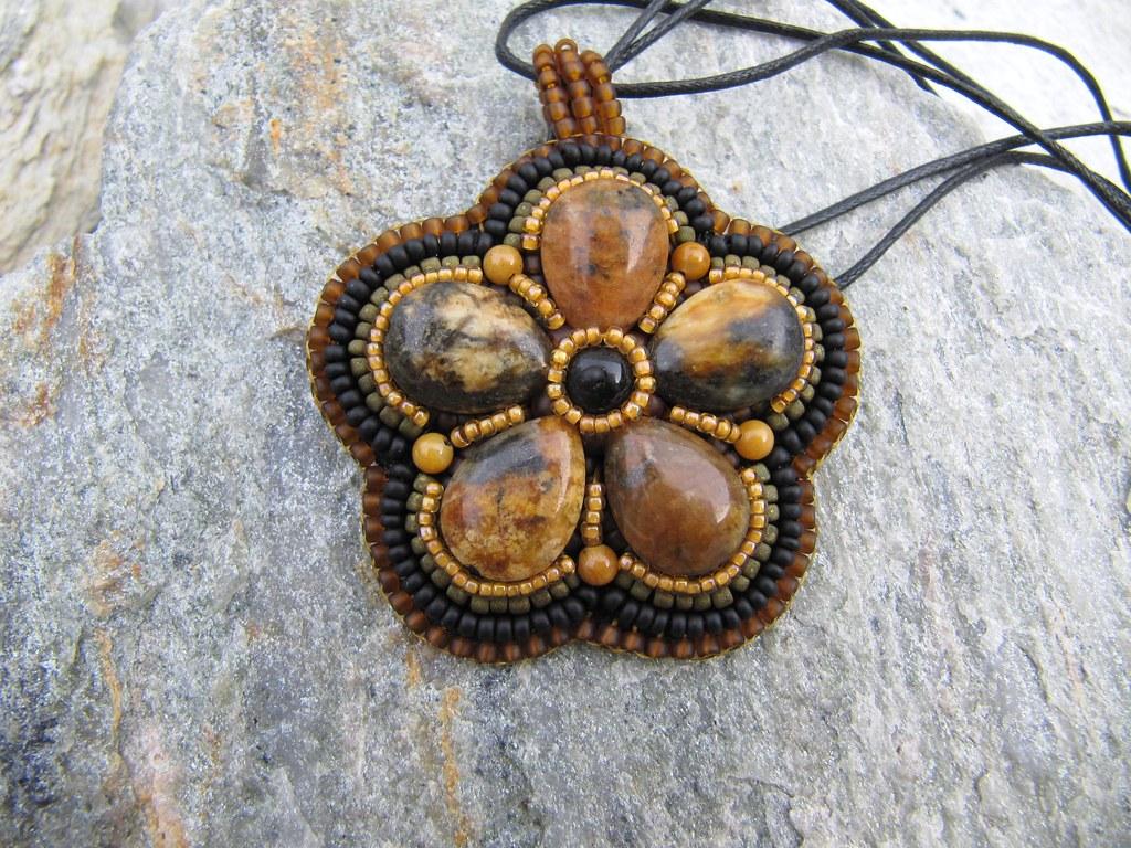 Jasper Flower Pendant