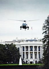 Marine One Taking Off (shiftdnb) Tags: usa fountain america dc marine flag aviation president whitehouse capital flight lawn helicopter transportation vehicle blade takeoff rotor potus marineone