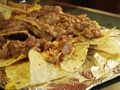 11 - fondue party - nachos with cheese, beans, bacon, chicken