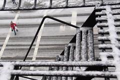 winter crossings (cmvoelkel (away)) Tags: newyorkcity snow lines brooklyn fireescape crosswalk blizzard