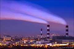 Night cityscape with power station (Dmitry Mordolff) Tags: blue chimney sky blur cold tower industry station horizontal night outdoors energy industrial factory cityscape technology exterior power view russia moscow smoke air aerial illuminated steam generator pollution damage electricity environment condensation tall coal generation warming fuel global supply cooling fumes