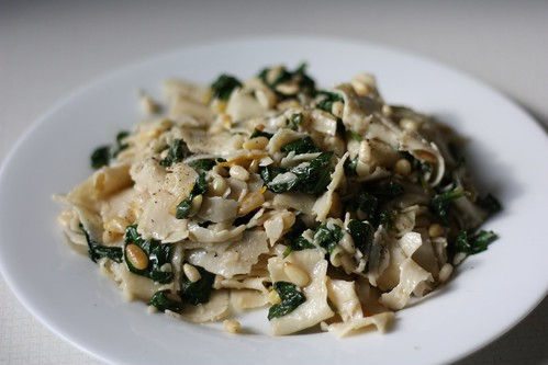 Tagliatelle with Mascarpone, Meyer Lemon, Spinach, and Pine Nuts