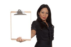 Businesswoman - Latina presenting clipboard (dgilder) Tags: people woman usa female austin person texas professional business whitebackground blank studioshot hispanic latina presenting copyspace showing isolated 30s darkhair clipboard welldressed businessattire businesswoman midadult realpeople hispanicwoman midadultwomen isolatedonwhite holdingout