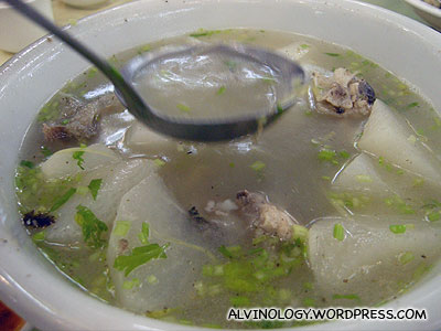 Clear soup with fish and turnip
